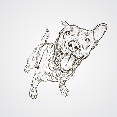 93632620 - vector black and white sketch of the dog sitting. cute dog