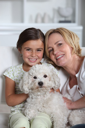 11456076 - mother, daughter and white dog sitting in a white living room